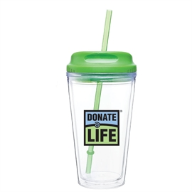 Picture of 16 oz. Double Wall Tumbler with Straw