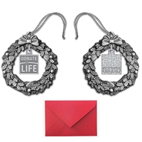 Picture of Pewter Wreath with Donate Life Charm Ornament