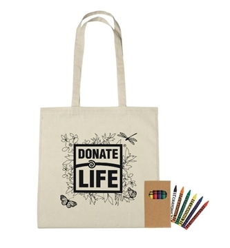Picture of Cotton Coloring Tote with Crayons